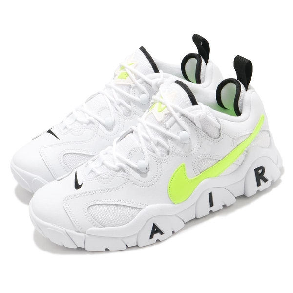 【海外限定】Nike 休閒鞋 Air Barrage Low 白 螢光黃 男鞋 復古籃球鞋 大勾勾 復刻 【ACS】 CN0060-100