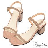訂製鞋 簡約一字帶中跟涼鞋-奶茶