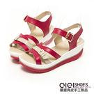 涼鞋 對比色系皮帶超輕量真皮楔型涼鞋(桃...