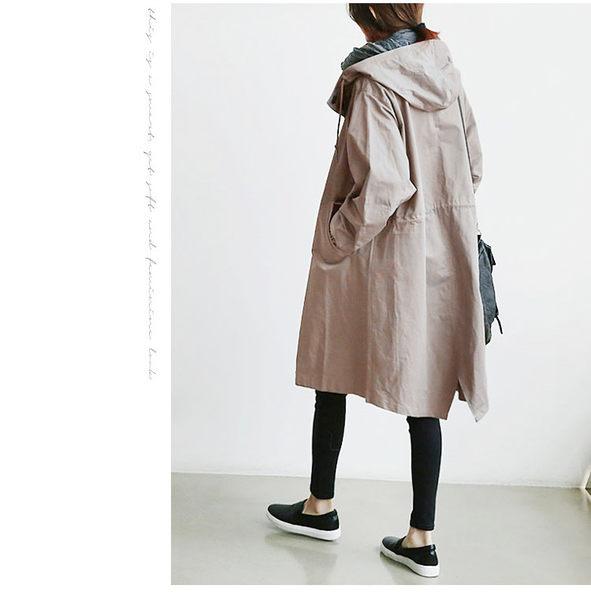 現貨+快速★寬鬆中長款風衣長袖外套★ifairies【40860】