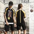 潮流短T‧情侶款網布印花側邊織帶造型圓領短T‧二色【NQT817】-TAIJI-