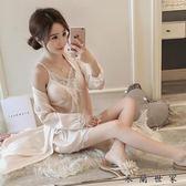 睡衣女冰絲吊帶睡裙真絲綢睡袍蕾絲