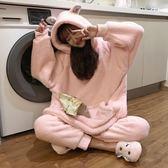春季熱賣 秋冬女裝日系甜美寬鬆毛毛絨兔耳朵連帽睡衣睡褲兩件套家居服套裝