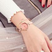 時表簡約氣質手鏈表女士時尚潮流圓形小表盤手表女防水石英腕表吾本良品