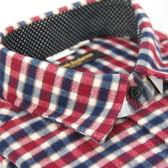 【金‧安德森】紅白藍格圓點繞領長袖窄版厚襯衫