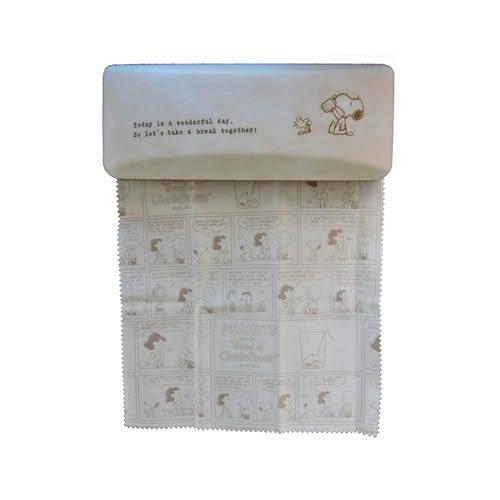 SNOOPY休息時間系列方型眼鏡收納盒附拭鏡布(史努比&糊塗塔克)★funbox★Marimo_FT32667