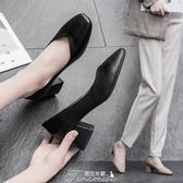 奶奶鞋2020春季新款粗跟方頭森系百搭簡約復古中跟仙女高跟單鞋女 提拉米蘇