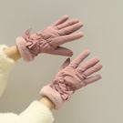 韓版學生女秋冬季騎車用羽絨棉加厚防寒可愛冬天觸屏手套加絨保暖 店慶降價