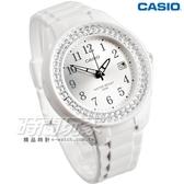 CASIO卡西歐 LX-500H-7B2 潛鑽女王簡潔時尚風指針 日曆 指針錶 白X銀框 女錶