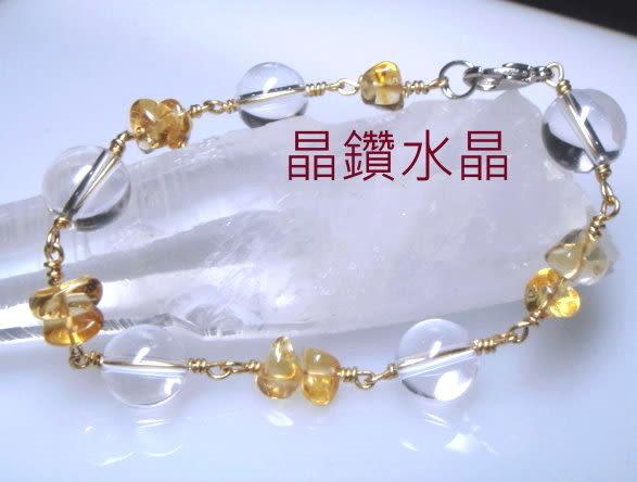 『晶鑽水晶』招財黃水晶手鍊搭配天然白水晶手鍊 10mmAA級~純手工編織