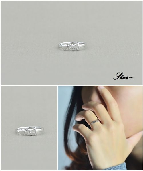 Star 銀色系列 -銀飾動物小馬設計指環(S925)-A9