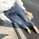牛仔褲 好康推薦秋季新款高腰彈力九分內刷毛牛仔褲女復古港味正韓八分小直筒褲