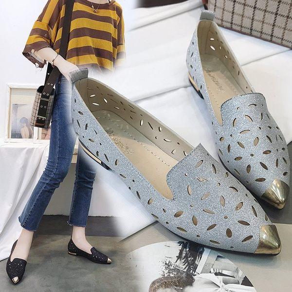尖頭鞋春夏季新款歐美粗跟尖頭單鞋女低跟英倫風鏤空透氣平底女鞋潮99免運