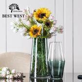 花瓶 現代簡約玻璃花瓶 客廳漸變透明小清新擺件百合富貴竹創意插花器   創想數位 DF