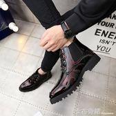 馬丁靴黑紅內增高男鞋10cm發型師皮鞋男增高鞋8cm高筒商務休閒鞋 卡布奇諾