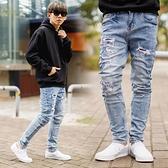 牛仔褲 韓國製潑漆造型立體剪裁小抓破合身版牛仔褲【NB0999J】