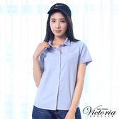 Victoria 素面配細條基本短袖襯衫-女-淺藍-Y7500756