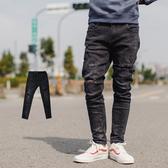 牛仔褲 韓國製微刷色抓破抽鬚彈性合身牛仔褲【NB0713J】