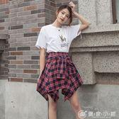 格子不規則襯衫a字裙短裙夏季chic高腰系帶半身裙子褲裙 優家小鋪