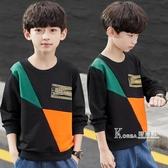 男童秋裝長袖t恤加絨新款男孩洋氣打底衫上衣連帽T恤厚潮兒童裝 Korea時尚記