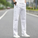 白色男士休閒褲子男韓版秋裝加絨西褲商務直筒長褲休閒褲男 雙十二全館免運