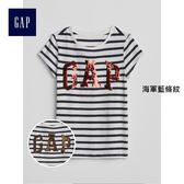 Gap女童 Logo系列雙面亮片圓領短袖T恤 328606-海軍藍條紋