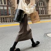 漂亮小媽咪 韓國托腹裙 【S5760】中長款 包臀裙 顯瘦 一步裙 孕婦裝 開叉毛呢 半身裙 高腰