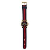 【台中米蘭站】全新品 GUCCI 蜜蜂刺繡金框藍紅帆布手錶(38mm/YA1264061)