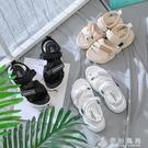 環球魔術貼運動涼鞋女2020夏季新款百搭仙女風休閒小熊厚底沙灘鞋 伊衫風尚
