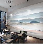 5d立體簡約現代電視背景墻壁紙客廳新中式山水3d墻紙影視墻布壁畫【櫻花本鋪】