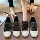 帆布鞋.韓系減齡魔鬼氈拚色休閒圓頭包鞋.白鳥麗子