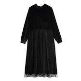 半高領絨布拼接點點雪紡洋裝-中大尺碼 獨具衣格 J3448