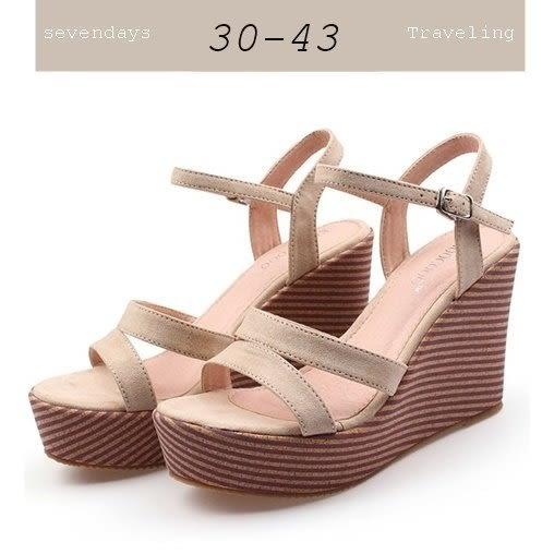 大尺碼女鞋小尺碼女鞋魚口羅馬雙一字羊皮絨布透氣防水台楔型厚底涼鞋米色(30-43)