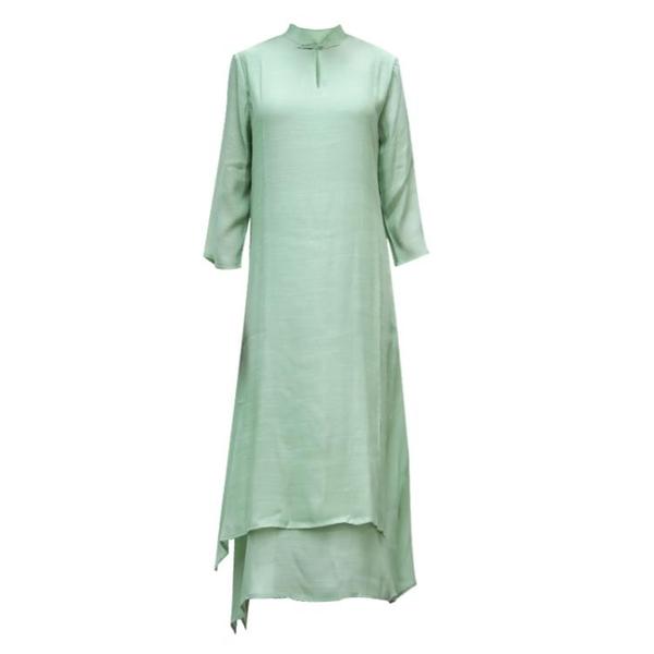 茶服 春秋新款民族風女裝寬鬆顯瘦過膝中長款禪修茶服立領棉麻連衣裙子 歐歐