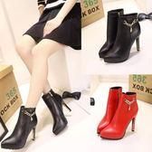 高跟細跟尖頭韓版網紅秋冬季百搭皮鞋靴子短靴秋季女鞋子