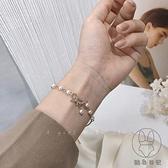 蝴蝶結珍珠手鏈女小眾設計感精致簡約百搭手環手飾潮【貼身日記】