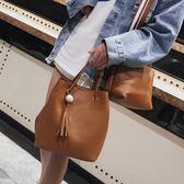 水桶包 流蘇水桶包包女新款潮款復古子母包手提韓版時尚女包 芊惠衣屋