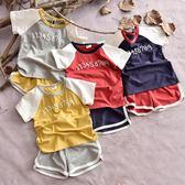 兒童短袖套裝夏男童3456歲字母寶寶小童運動短褲兩件套女童潮