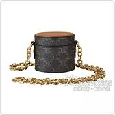 CELINE 金字壓印LOGO羊皮印花帆布磁扣式鍊帶珠寶盒 (棕)