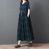 民族風連身裙 夏裝文藝復古格子洋裝寬鬆大碼遮肚顯瘦舒適休閒長裙子-Ballet朵朵