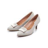 【Fair Lady】芯太軟 方形拼接金屬扣飾高跟鞋 經典灰