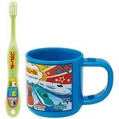 小禮堂 鐵道王國 日製 兒童牙刷漱口杯組 旅行牙刷組 附牙刷蓋 3-5歲適用 (藍 介紹) 4973307-49320