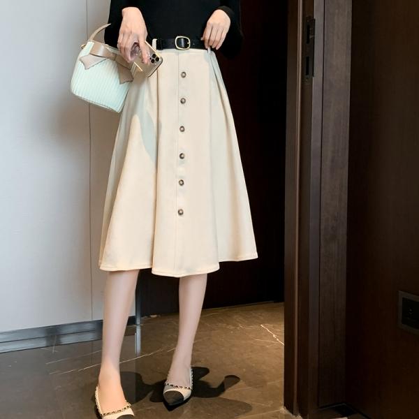 裙子.赫本風絨面壓摺排扣傘擺半身裙.白鳥麗子