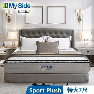 美國 My Side Sport Plush 獨立筒 彈簧床-特大7尺送羽絲絨被+緹花對枕