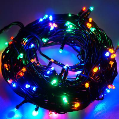 100燈LED燈串聖誕燈 (四彩光黑線)(附控制器跳機)(高亮度又省電)