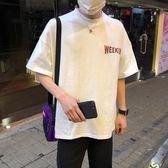 新款韓版印花男士短袖T恤原宿bf風寬鬆半袖上衣服體恤潮
