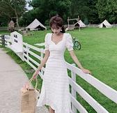 洋裝連身裙S-XL泡泡袖連衣裙女夏小白裙氣質法式甜美裙子NA02D.3591一號公館
