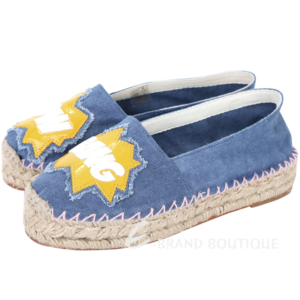 Chiara Ferragni Pow Bang 動漫文字拼接帆布草編鞋(藍色) 1620627-23