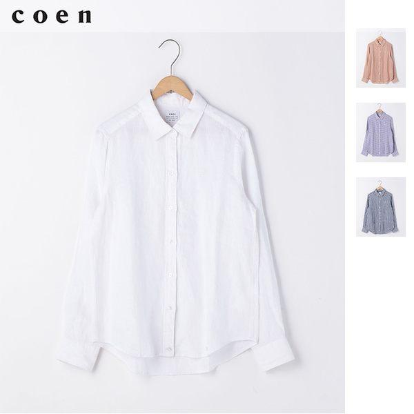 出清 法國亞麻 基本款 女襯衫免運費 日本品牌【coen】