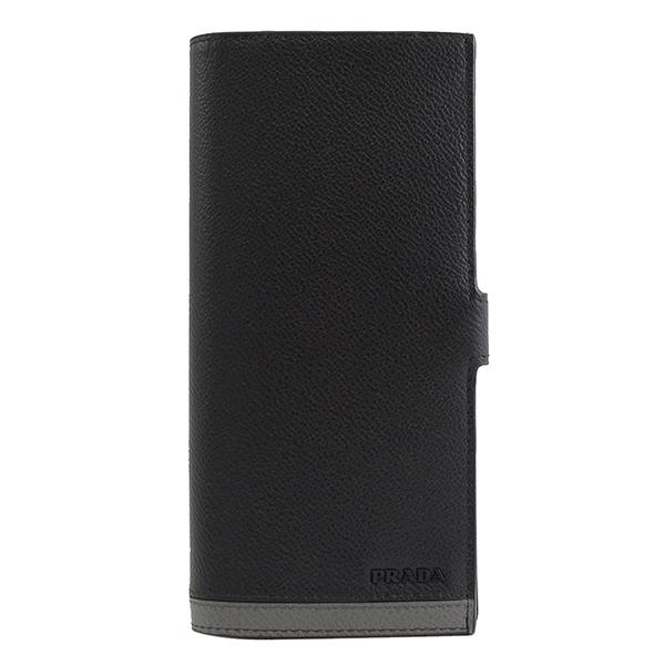 茱麗葉精品【全新現貨】PRADA 2MV015 浮雕LOGO拼色對開扣式長夾.黑/灰